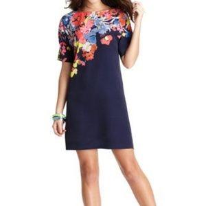 LOFT Placed Floral Print Shift Dress Navy Sz M